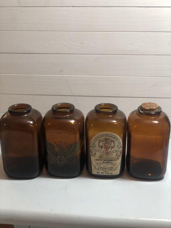 Vintage Brown Glass Snuff Bottles ( Lot of 4) Random 3 Dot On 2 & 4 Dot On 2