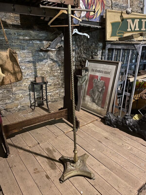 Antique Brass T-Bar Clothing Rack w/ Cast Iron Base Victorian Sanforized Tailor