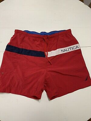 VINTAGE Nautica Swim Trunks Lined Board Shorts Men's XL Spell Out Red & Blue