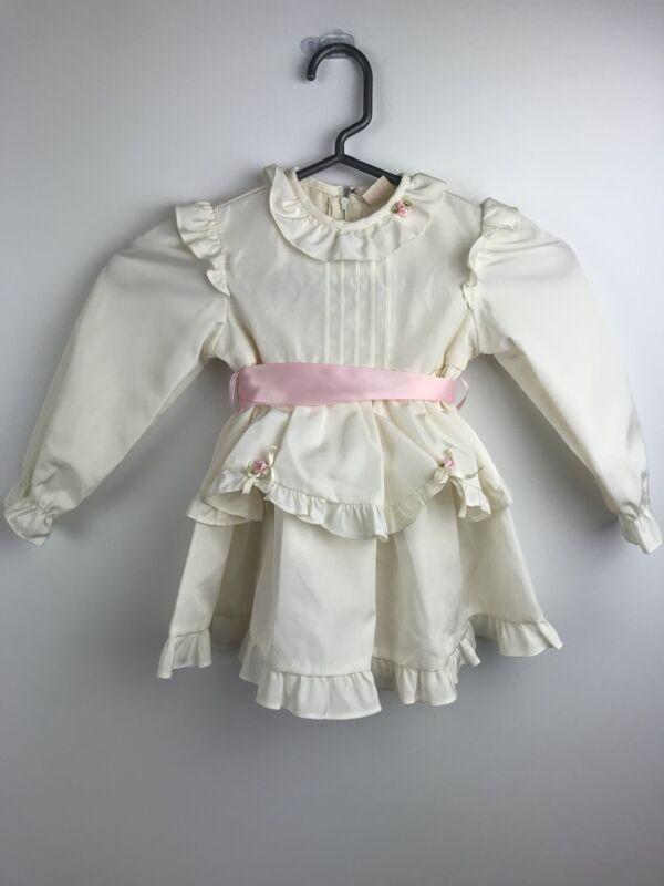 Dorissa Of Miami 3T White Ruffle Rose Bud Long Sleeve Holiday Dress