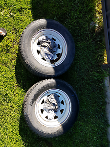 Box trailer wheels almost new tread East Branxton Cessnock Area Preview