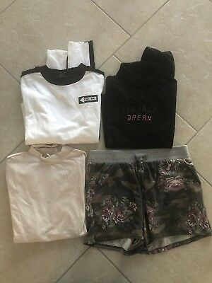 4 pc FOREVER 21 LONG SLEEVE CROP TOPS & JOE B LOUNGE SHORTS JUNIORS LOT M NWT!!!