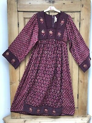 Phool Vintage Block Print Dress 70/80's Size 10 Indian Cotton Gold Overlay Boho