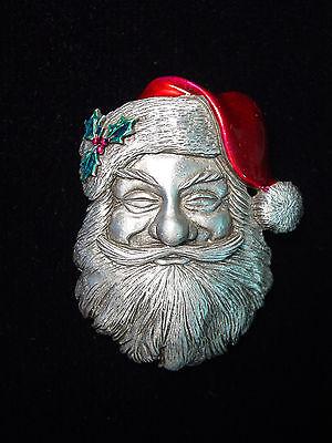 Jj  Jonette Jewelry Silver Pewter Classic Santa Claus Pin   Detail Is Great
