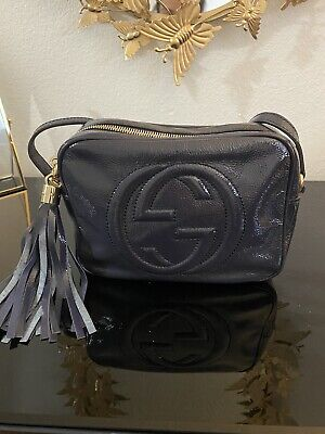 Gucci Soho Small Patent Leather Disco Bag - Navy Blue