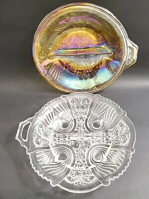 1 Marigold & 1 Clear Round Pressed Glass Divided Candy Relish Dish w/ Handle