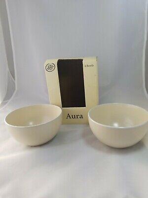 2 BIA CORDON BLEU Aura stoneware bowls for cereal and chowder. Neutral tan bowls