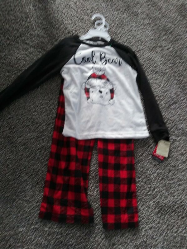 NWT  Cuddle Duds Jammies For Families Cool Bear XS 4-5  Red/Black Buffalo Check