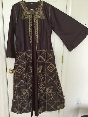 Fancy evening women jacket abaya maxi golden embroiderey bell long sleeves cover