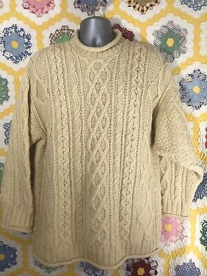 Inis Crafts Irish Wool ROLL HEM Cable Knit Sweater Ireland IVORY Mens SIZE M