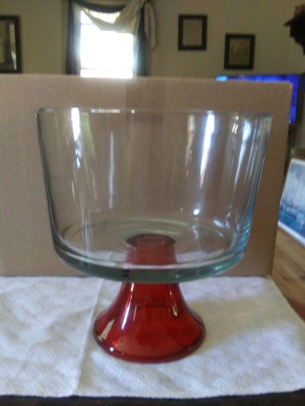 Glass Trifle Dish red base Cake Desert