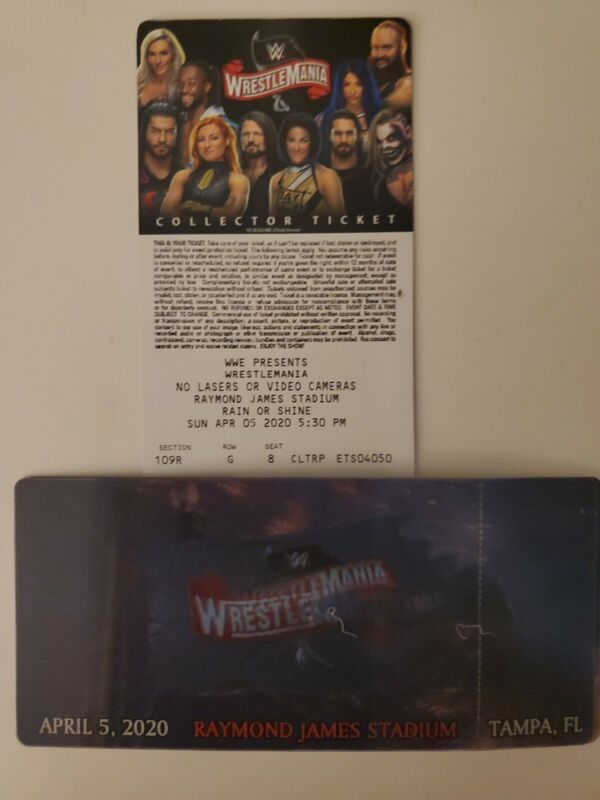 WWE Wrestlemania 36 Commemorative 3D Ticket Stub Rare Souvenir