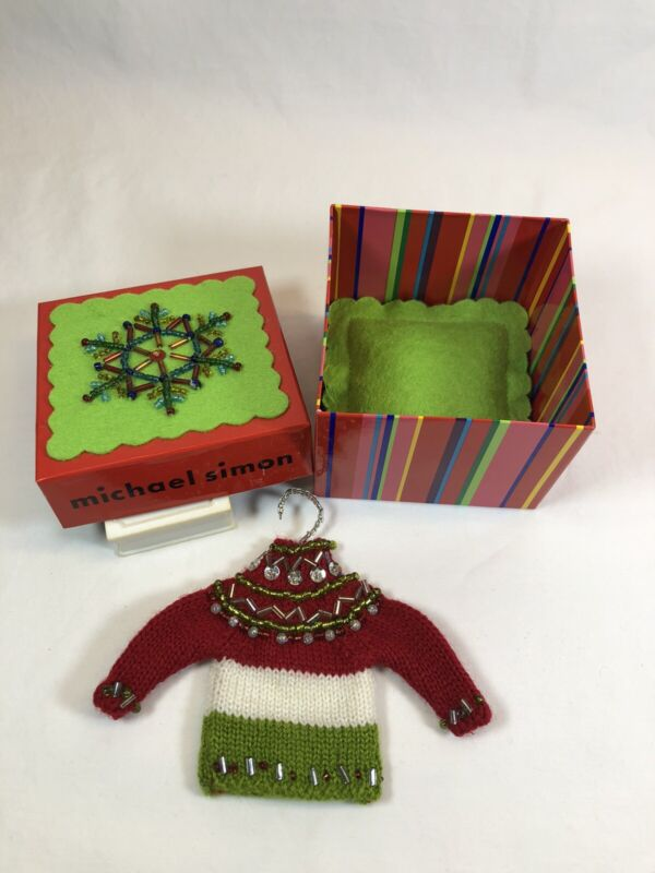 MICHAEL SIMON CHRISTMAS ORNAMENT Red-White-Green Sweater w/Jewels