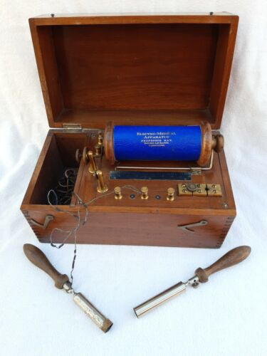 ANTIQUE ELECTRO - MEDICAL APPARATUS PROFESSOR RAY INDUCTION COIL IN BOX