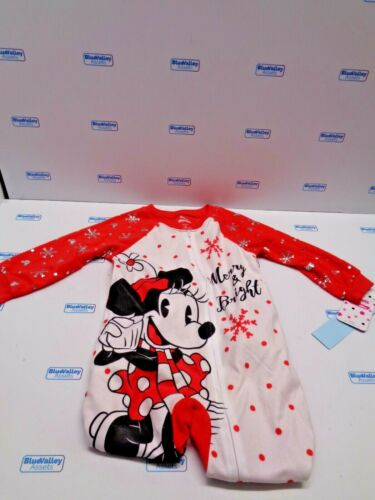 DISNEY JUNIOR RED MINNIE MOUSE FOOTED PAJAMAS, 3T, NEW