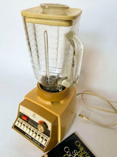 Vintage OSTERIZER IMPERIAL PULSE MATIC 10 Harvest Gold BLENDER Glass Jar, Book