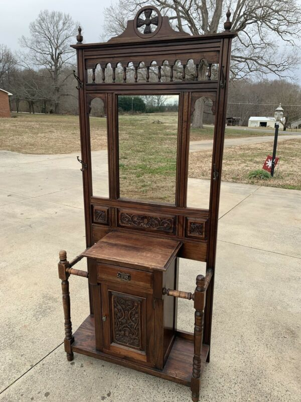 Antique Hall Tree Stand  With Mirror