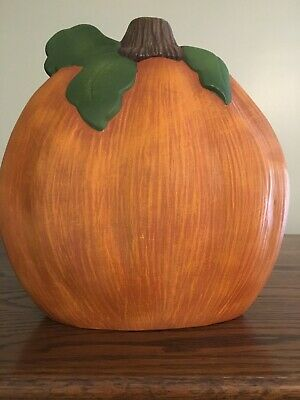 COLLECTIBLE CERAMIC PUMPKIN ORANGE WITH BROWN &GREEN 9 INCHES HIGH !!