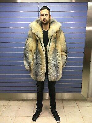 Luxury Full Skin Golden Island Fox Fur Mens Coat Real Fur Jacket Full Skin Fox