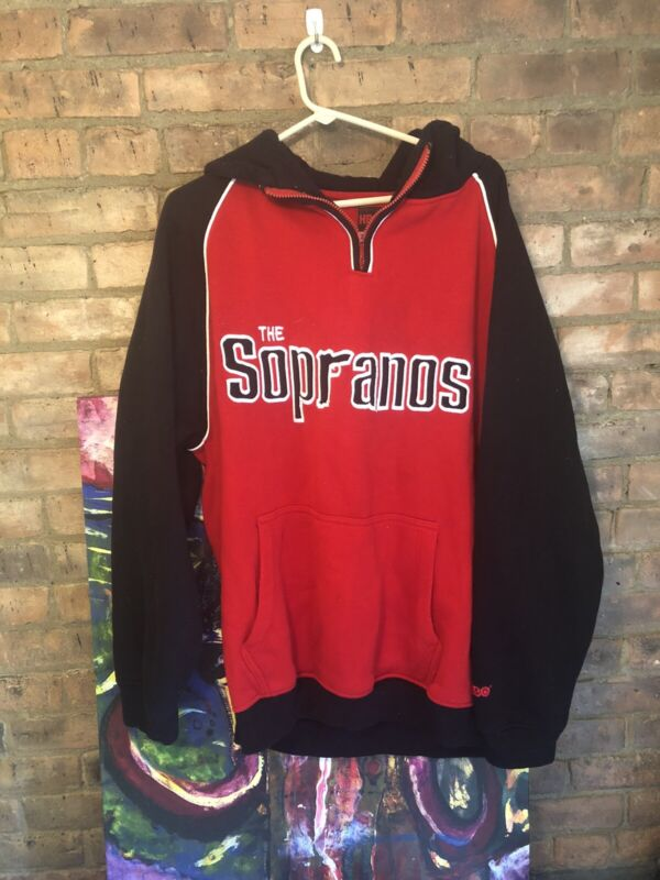 The Sopranos HBO  Hype Beast Oversized Long Sleeved Red And Black Hoodie Size L