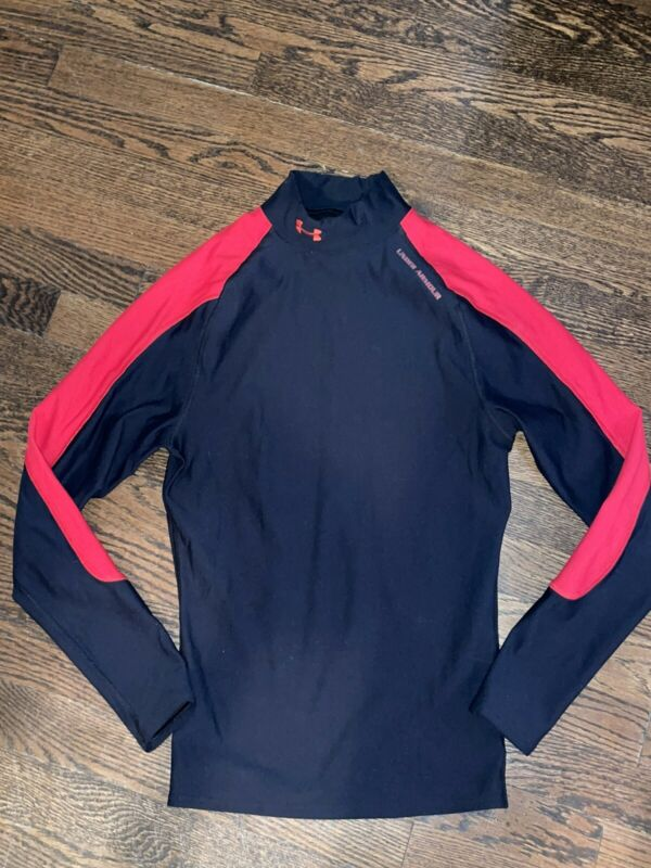 Mens Under Armour Black Red Coldgear Mock Long Sleeve Shirt Adult Small