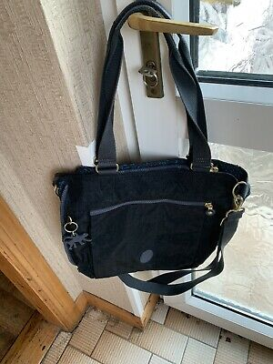 Kipling Marie-francoise Black Lace Embosed Print Tote Bag With Swing Monkey