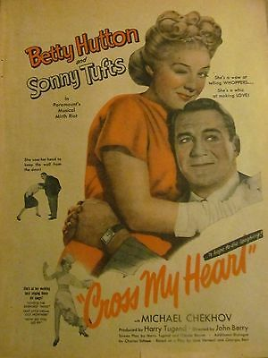 Cross My Heart, Betty Hutton, Sonny Tufts, Full Page Vintage Promotional Ad