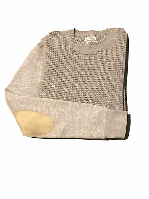 AllSaints Gray Knit Leather Elbow Patch Pullover Sweater Mens Small S MSRP $198