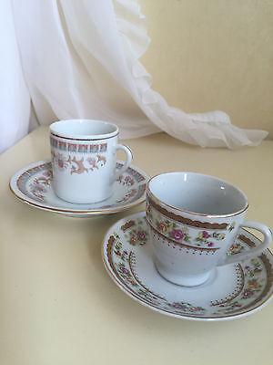 Vintage *  Porzellan Sake Set 2 Tassen 2 Teller, China