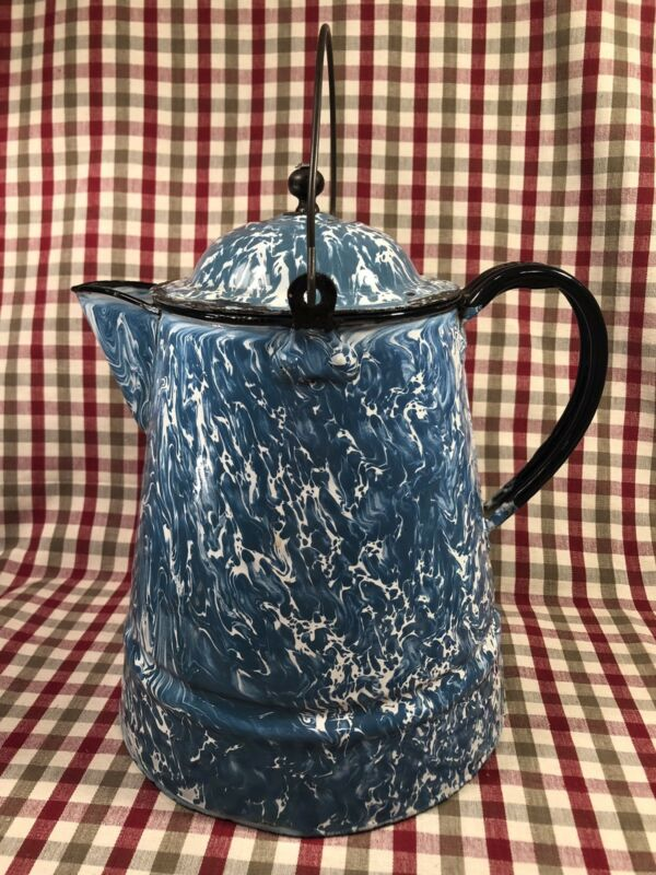 VINTAGE ANTIQUE BLUE & WHITE SWIRL COFFEE KETTLE POT ENAMELWARE GRANITEWARE HTF