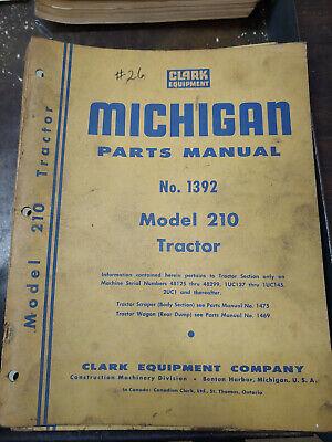 Clark Michigan Model 210 Tractor Parts Manual No.1392