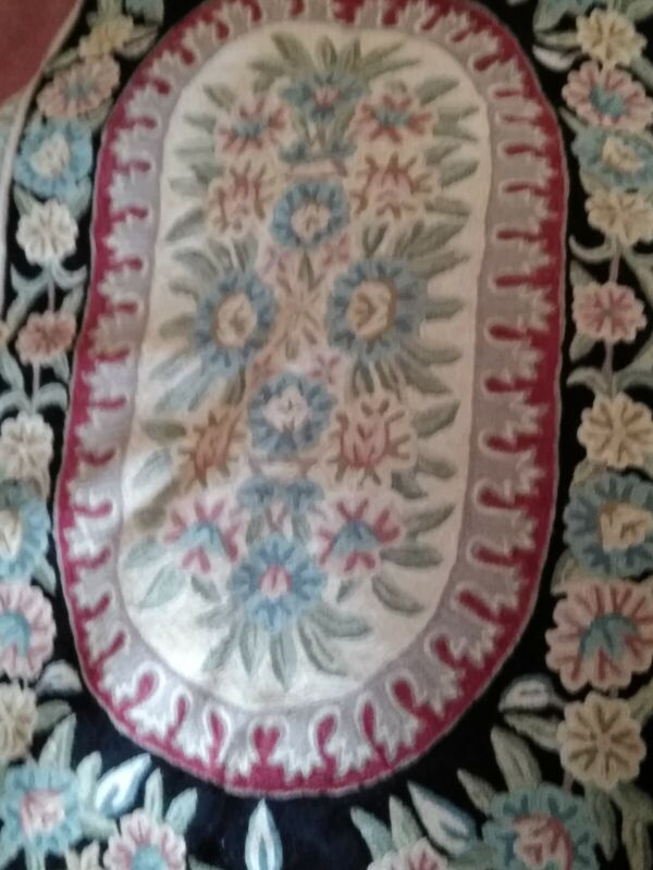 VINTAGE ANTIQUE FRENCH STYLE AUBUSSON NEEDLEWORK TAPESTRY CARPET RUG