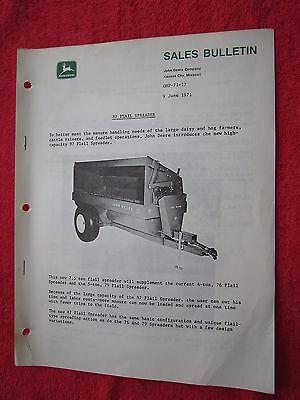 1971 For John Deere Dealers New 87 Flailmanur Spreader For72 Bulletinbrochure