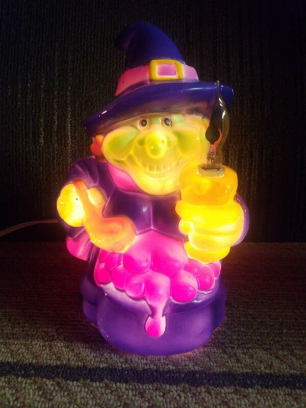 """VINTAGE 10""""  WITCH HALLOWEEN BLOW MOLD LIGHT UP DECOR"""