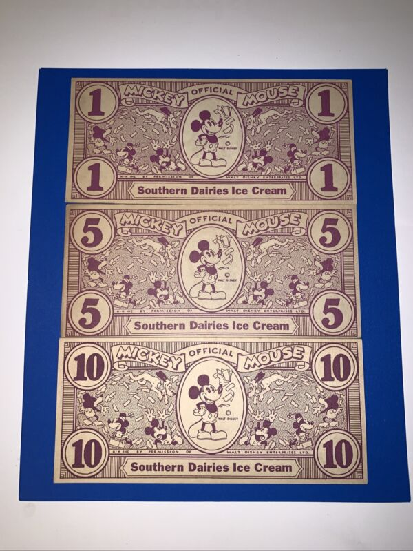 SCARCE 1933 SOUTHERN DAIRIES MICKEY ICE CREAM CONES DOLLARS COMPLETE SET