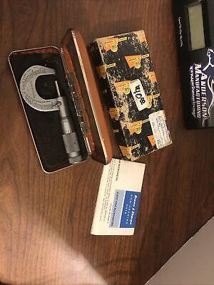 Vintage Brown Sharpe No.1 Slant Line Micrometer 0-1 By 0001 In 1968 Box