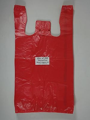 200 Qty. Red Plastic T-shirt Retail Shopping Bags With Handles 11.5 X 6 X21