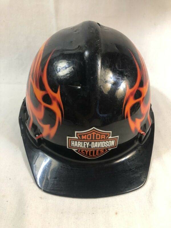 Harley Davidson Hard Hat Construction flames black orange Biker