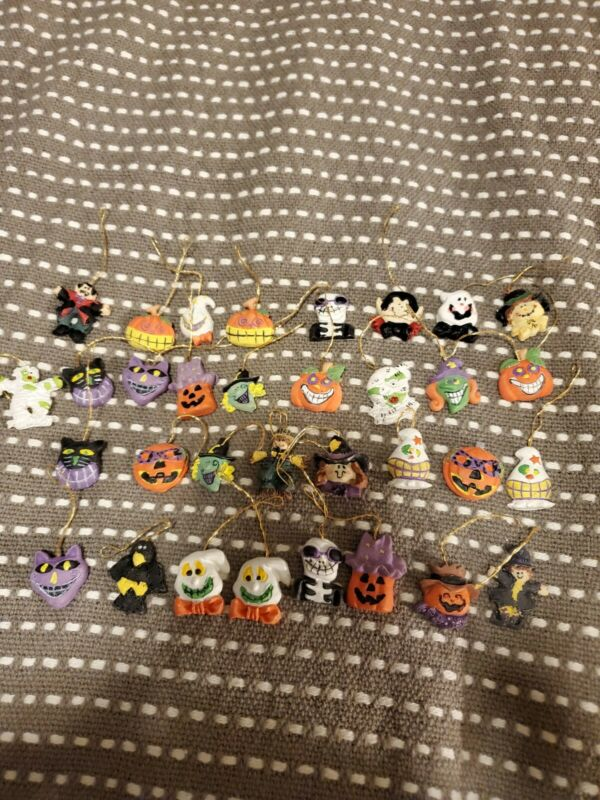 Mini Halloween Ghost Jack O Lantern Witch Skeleton Pumpkin Ornaments  Lot of 33