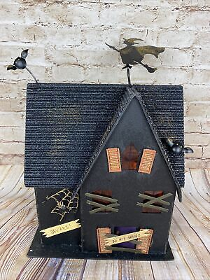 "Halloween 13.5"" Tall Light Up Haunted House Black Wood w Orange & Glitter"
