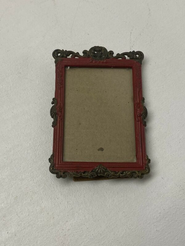 """Vintage Italian Photo Picture Frame Brass & Red Paint Made in Italy 4.5"""" X 3"""""""