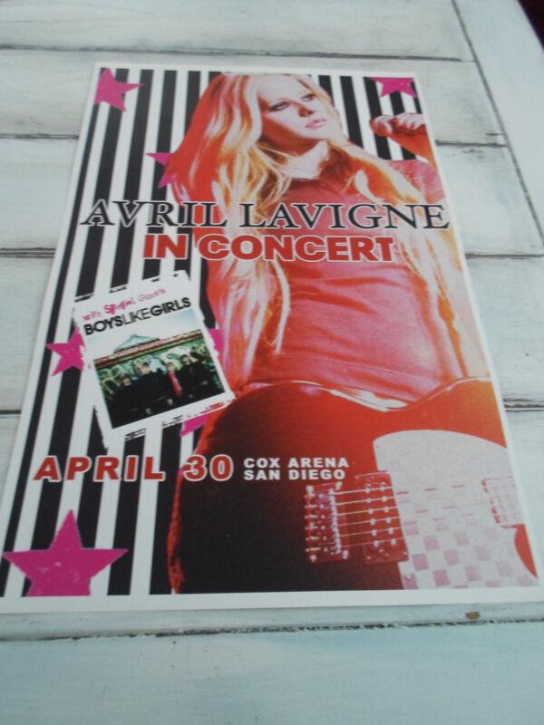 "AVRIL LAVIGNE Concert Poster BOY LIKE GIRLS San Diego Cox Arena 11""x17"""