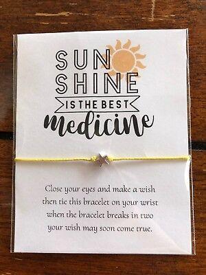 Sunshine is the BEST Medicine Motivational GIFT String Friendship Wish - Motivational Bracelets