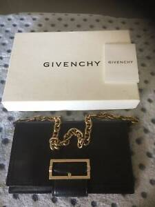 Authentic Givenchy Leather & Gold Tone Shoulder Flap Bag As New