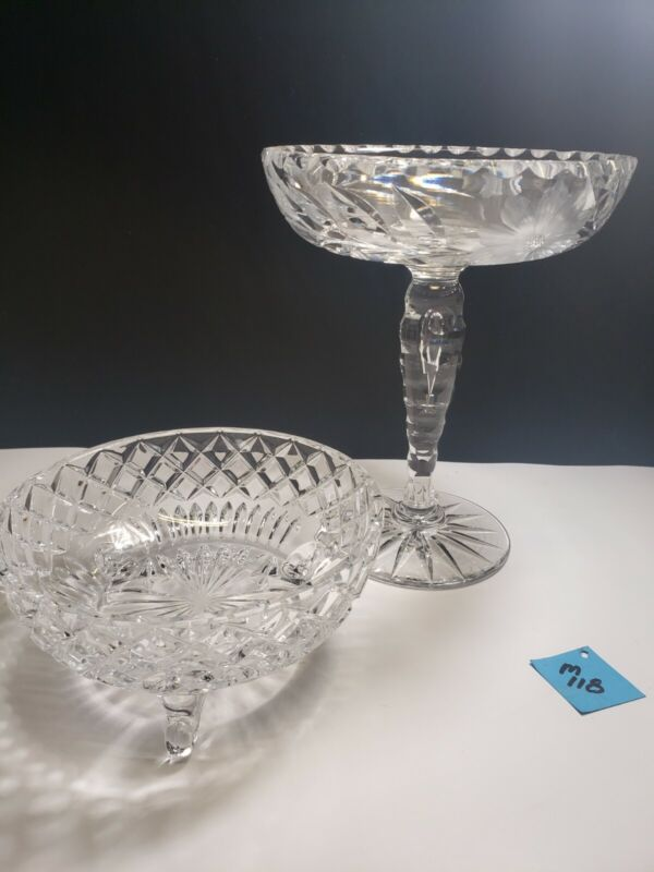 Antique GLASS COMPOTE and candy dish