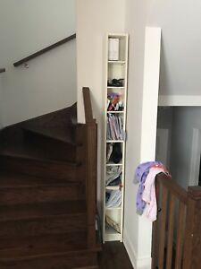 2X white bookshelf
