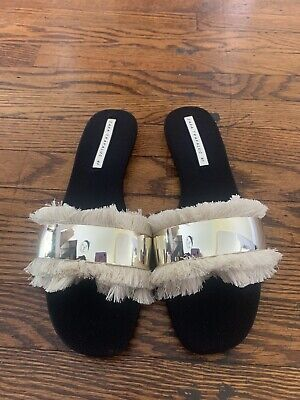 Zara Trafaluc Black Slide Shoes Women Sz 41