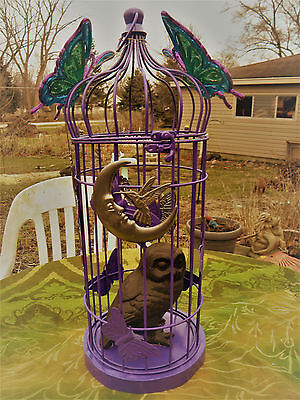 ARTIST MADE VICTORIAN OWL & Fairy's FANTASY BIRD CAGE 21 inches high