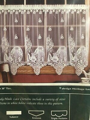 """Heritage Lace """"teatime"""" WHITE 60"""" X 36"""" Tier Pair"""