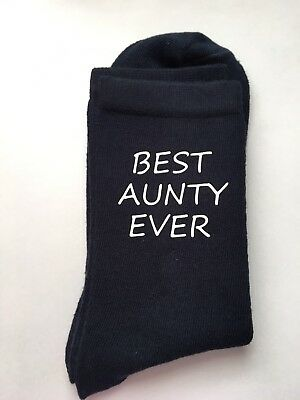 Best Aunty Ever Ladies Navy Socks Christmas Gift Vinyl Printed Auntie